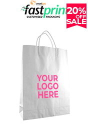 White Kraft Paper Bag - Small - Printed
