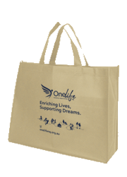 Express Printed Landscape Tote Bags with 14cm gusset - Sand