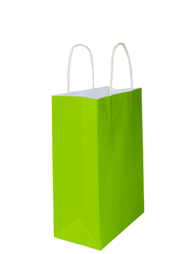 White Kraft Bag Small - Loud lime